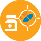 Pill bottle and target icon